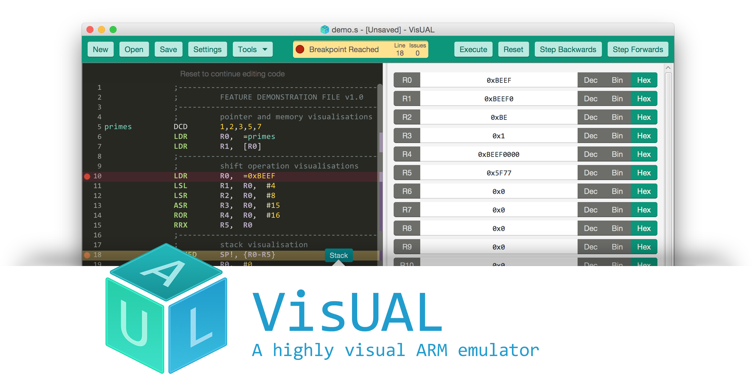 VisUAL - A highly visual ARM emulator